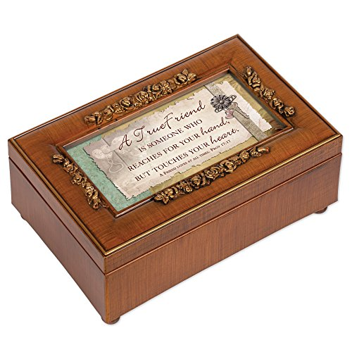 Cottage Garden A True Friend Rich Walnut Finish with Brushed Gold Rose Trim Petite Jewelry Music Box - Plays Song What a Friend We Have in Jesus