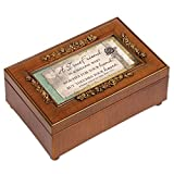 A True Friend Cottage Garden Rich Walnut Finish with Brushed Gold Rose Trim Petite Jewelry Music Box - Plays Song What a Friend We Have in Jesus