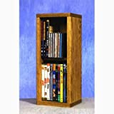 Wood Shed Solid Oak 2 Row Dowel CD/DVD Cabinet Tower Clear