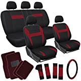 OxGord 21pc Flat Cloth Seat Covers with Carpet Floor Mats for Car, Truck, Van, SUV - Burgundy Red