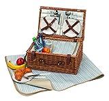 Picknickkorb-fr-4-Personen-mit-Khlfach-und-Picknickdecke