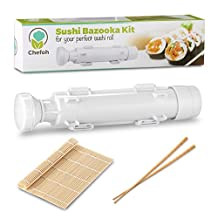 All-In-One Sushi Making Kit   Sushi Bazooka, Sushi Mat & Bamboo Chopsticks Set   DIY Rice Roller Machine   Very Easy To Use   Food Grade Plastic Parts Only   Must-Have Kitchen Appliance