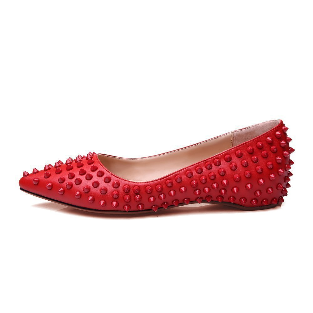 Mermaid Women's Shoes Pointed Toe Spiked US15 Rivets Comfortable Flats B071QYCKCS US15 Spiked Feet length 11.61