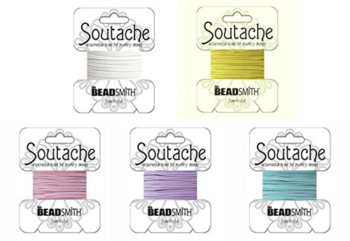 Beadsmith Soutache Braided Rayon Cord / Trim Bundle: 5 Colors, 3mm Wide, 3 Yds per color ()