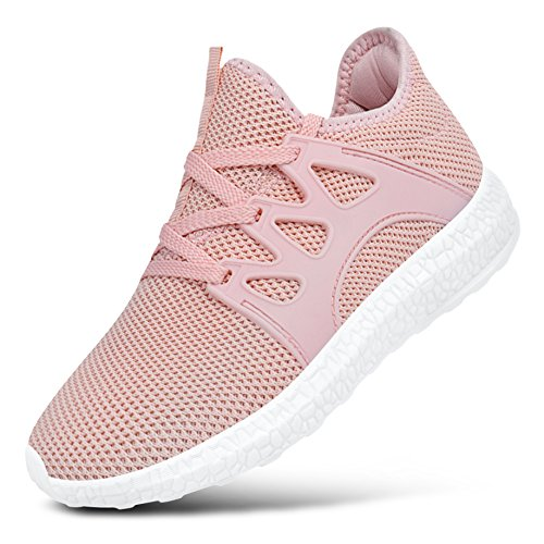 Feetmat Kids Tennis Shoes Fashion Sneakers Lace-up Lightweight Breathable Girls Sports Shoes Pink 3.5