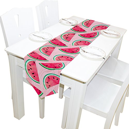 ALAZA Table Runner Home Decor, Stylish Watercolor Watermelon Fruit Table Cloth Runner Coffee Mat for Wedding Party Banquet Decoration 13 x 90 inches (Best Fruits For Runners)