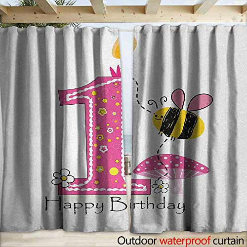 Price comparison product image warmfamily 1st Birthday Blackout Curtain Cartoon Style Image with The Bees Party Cake and The Candle Print W120 x L84 Pink Black and Yellow