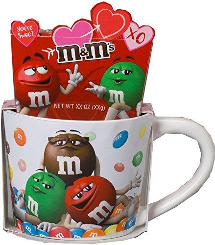 M&M's Ceramic Valentines Day Coffee Mug Gift Set with Chocolate Candies