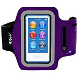 Running and Exercise Workout Armband Case for iPod Nano 8th and 7th Generation Devices with Adjustable Sport Arm Band, Reflective Border, Touch Screen Protection and Key Holder (8 G 7 G Purple)