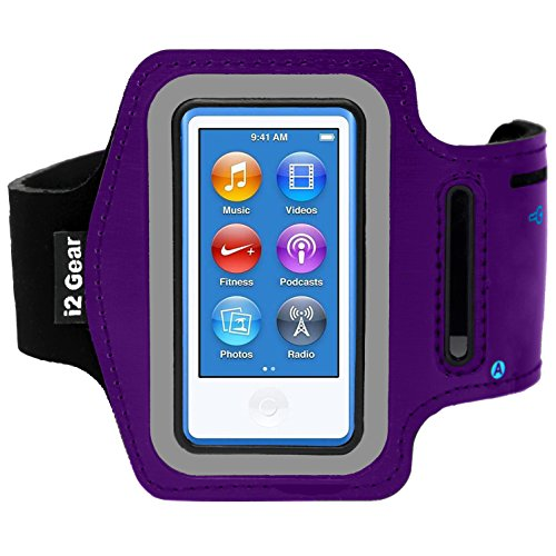 Running and Exercise Workout Armband Case for iPod Nano 8th and 7th Generation Devices with Adjustable Sport Band, Reflective Border, Touch Screen Protection and Key Holder (8 G 7 G Purple)