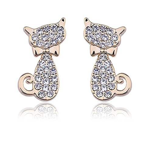Lureme Cute Kitty Cat with Bow Tie Pave Crystal Gold Tone Stud Earrings for Women Teens Girls 02002063-2