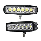 JAHURD 18W Light Bar (Pack of 2) Spot Beam for Car Truck off-road Jeep UTV ATV SUV Outdoor Lighting