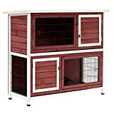 Pawhut 2 Story Wooden Rabbit Hutch with Enclosed Run and Pull Out Tray, 48