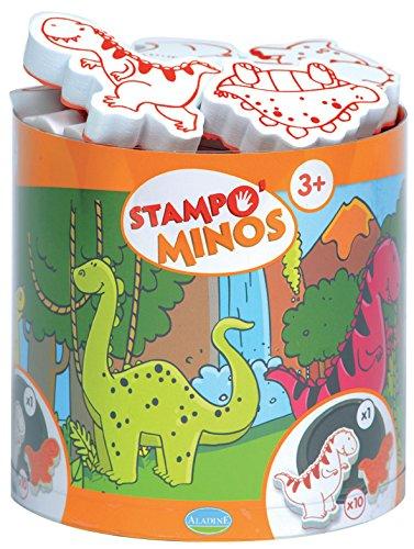 10 Stempel und 1 Stempelkissen Unbekannt Aladine 85123 Stampo Minos Dinosaurier