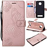 Moto Z3 Play Case, UNEXTATI Moto Z3 Play Flip Folio PU Leather Wallet Case with Magnetic Closure for Moto Z3 Play
