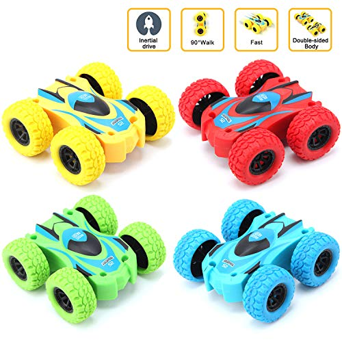 SB Toys 4 Pack Friction Powered Car Toys, Push and Go Toy Cars for Toddlers, Double Side Baby Car, Gifts for 3 4 5 6 7 8 Year Old Boy, Birthday Party Favors for Kids, Flips Mini Kids Cars 4 Pack Cars
