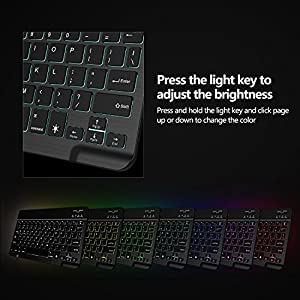 Bluetooth Keyboard, Vive Comb 7-Colors Backlit Universe Compact Portable Wireless 3.0 Keyboard for iOS, Android, Windows with a Foldable Multi-angle Cell Phone Stand Desktop Holder, Black