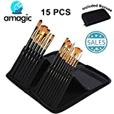 AMAGIC Set of 15 Large Acrylic Paint Brush Set Carrying Case - Different Shapes & Sizes, No Shed Bristles Wood Handles Acrylics, Oil Watercolor - Nice Gift Beginner, Professional Artists& Ki