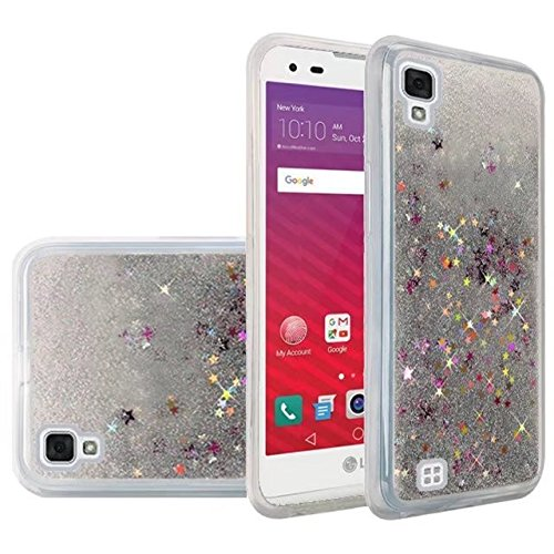 we3dcell LG TRIBUTE HD CASE LS676 / VOLT 3 CASE / X STYLE Case - Transparent Floating Liquid Glitter soft TPU Waterfall bling Cover (silver)