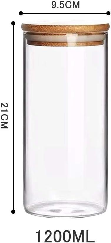Vivilineneu Set 3 Barattoli in Vetro Contenitori Alimenti per Cucina Anticalore con Copercchio Ermetico e Guarnizione Larga Bocca Barattolo per Cibo caff/è t/è Biscotti