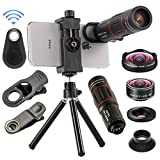 4 in 1 Cell Phone Camera Lenses Kit, 18X Telescopic Zoom Lens/4K HD