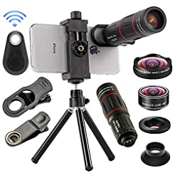 4 in 1 Cell Phone Camera Lenses Kit, 18X...