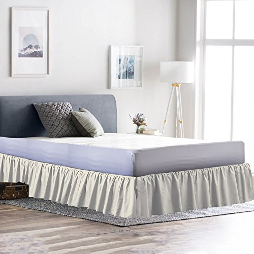 - Dust Ruffle Bed Skirt 100% Microfiber Bed Wrap with Platform (+12 Inch Drop)- Easy Fit Gathered Style 3 Sided Coverage (Twin, Ivory)