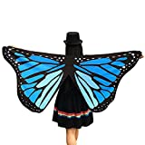 Qisc Wings Hallowmas Party Costume, Butterfly Fairy Ladies Nymph Pixie Party Shawl Costume Accessory (Blue)
