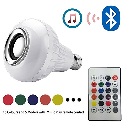 Tobable 16 Colours LED Light Bulb with Integrated Bluetooth Music Speaker, 6W E27 RGB Changing Lamp Wireless Stereo Audio with 24 Keys Remote Control