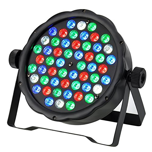 Stage Lighting Par Cans (GBGS LED PAR Lights 54W RGBW LED Super Thin 8 Channel DMX512 Par Can Stage Lighting for Festival Party Disco Wedding DJ KTV)
