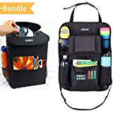 Sellurite Car Trash Can & Car Seat Organizer Duo–Car Garbage Can with Lid & Backseat Organizer with Cup Holder, Tissue Holder & Pockets