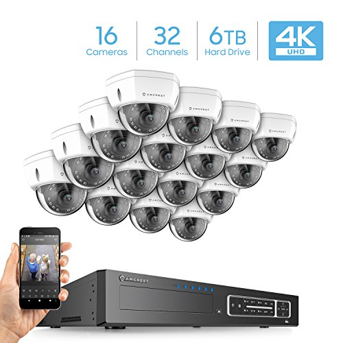 Amcrest 4K 32CH Security Camera System w/ 4K NVR, (16) x 4K IP67