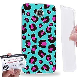 Case88 [Motorola Nexus 6] Gel TPU Carcasa/Funda & Tarjeta de garantía - Art Fashion Cyan Leopard Multi Colored Animal