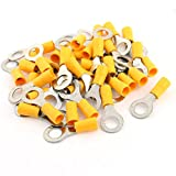 Aexit 40pcs Yellow Machine Cable Connector Sleeve Pre Insulated Ring Terminal RV5.5-8 for AWG 12-10 Wire