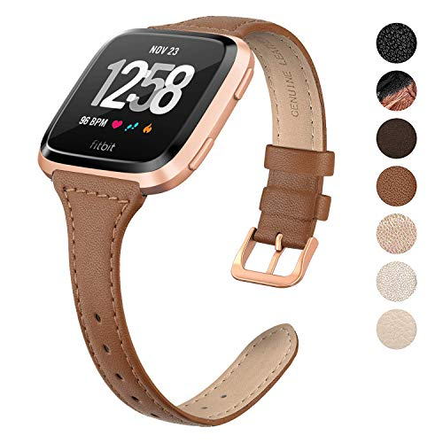 SWEES Leather Bands Compatible Fitbit Versa, Genuine Leather Slim Thin Soft Elegant Dressy Wristband Watch Band Women Small, Rose Gold, Ivory, Champagne, Black, Brown, ()