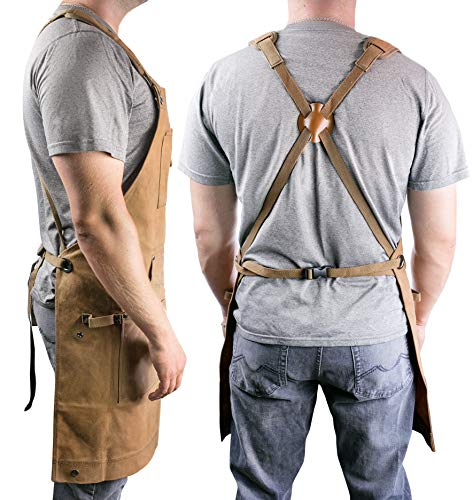 Waterproof Canvas Work Apron for Men and Women, Heavy-Duty Waxed for Durability and Safety - Brown by NomadFox (Image #1)