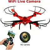 New SkyCo Q222K Rc Wifi Fpv Wifi Drone Quadcopter with HD Camera Live Video One-Key-Return RFT Headless Helicopter Altitude Hold,4 Ch 2.4ghz 6-gyro,Headless System (Red)