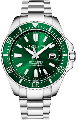 Stuhrling Original Dive Watches for Men - Green Dial Sport Watch with Screw Down Crown for 330 Ft. of Water Resistance - Analog Dial, Quartz Movement - Depthmaster Mens Watches Collection