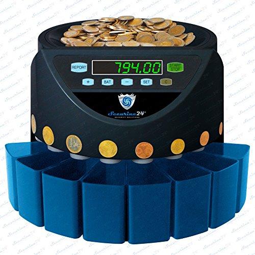 Münzzähler Münzzählmaschine Münzsortierer Geldzählmaschine SR1200 von Securina24® (Schwarz - Blacklabel - BSB)