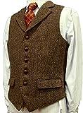 Brown Wool Herringbone Groom Vests Formal Groom's Wear Suit Vest Men's Wedding Tuxedo Waistcoat Plus Size (M, Brown)