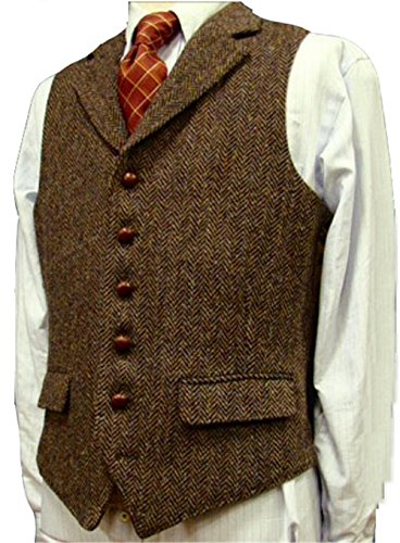 Herringbone Tuxedo Vest (Brown Wool Herringbone Groom Vests Formal Groom's Wear Suit Vest Men's Wedding Tuxedo Waistcoat Plus Size (L, Brown))