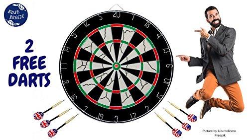 BlueBreeze Double-sided Sisal Dartboard + 6 Darts + FREE Gift – 2 Spare Darts – DiZiSports Store