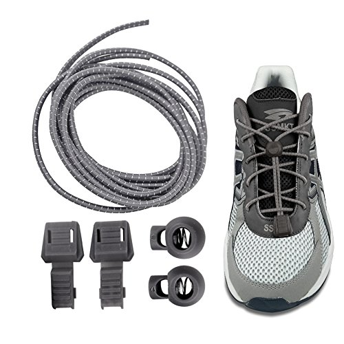 Magic Shoelaces   2pcs Pull and Lock Polyester No Tie Shoelaces   Tangled Free Colorful Design Personalized Easy Installation Tieless Shoe Laces   Dark Grey   1481.1