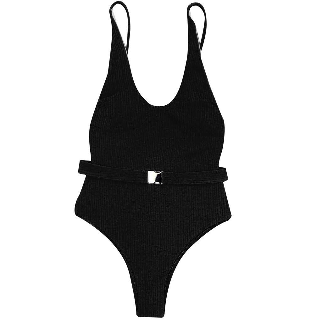 b12396f1739 Sunhusing Women's One-Piece Swimsuit Solid Color Special Cloth Belt Buckle  One-Piece Bikini Swimwear at Amazon Women's Clothing store: