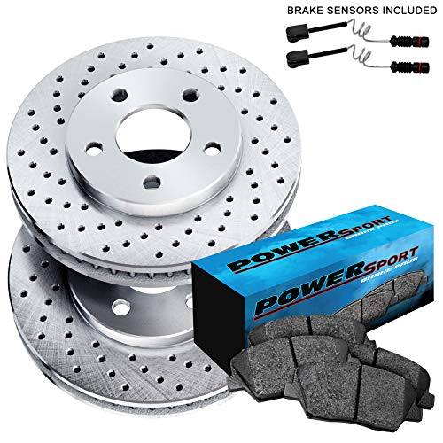 Fit Mercedes-Benz G55 AMG, ML500, R350 Front Drilled Brake Rotors+Ceramic Pads