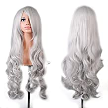 """EUBEST 32"""" 80cm Long Hair Heat Resistant Spiral Curly 12 Color Cosplay Wig+free Wig Cap (white)"""