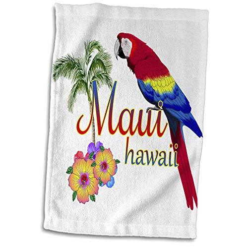 - 3dRose Macdonald Creative Studios - Hawaii - Maui Hawaii Souvenir with Tropical Parrot and Flowers. - 15x22 Hand Towel (TWL_299244_1)
