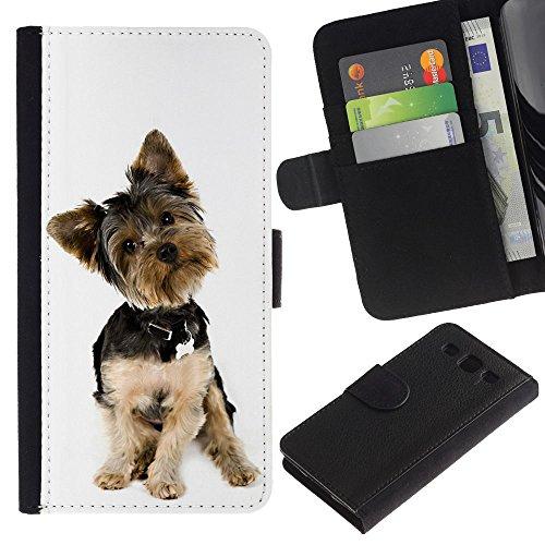 EuroCase - Samsung Galaxy S3 III I9300 - Yorkshire terrier white small dog puppy - Cuero PU Delgado caso cubierta Shell Armor Funda Case Cover