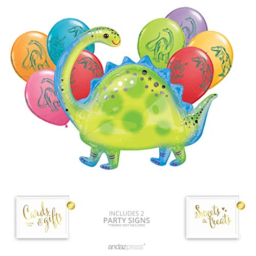 Andaz Press Dinosaur Party Balloon Bouquet Set, Dinosaur Party Supplies, Inflatable Dinosaur Foil Mylar and Latex Balloons, Bulk Balloon Kits for Party Decorations, Dinosaur Birthday Party ()