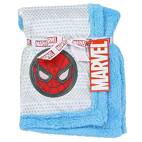 """Spider-Man Super Soft Mink/Sherpa Blue Baby Blanket. 30"""" x 3"""